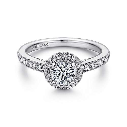 Gabriel - Winnie 14k White Gold Round Halo Engagement Ring