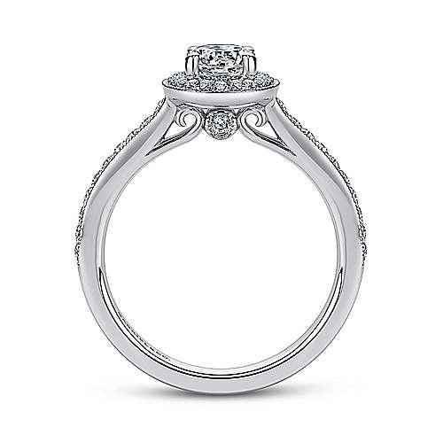 Winnie 14k White Gold Round Halo Engagement Ring angle 2