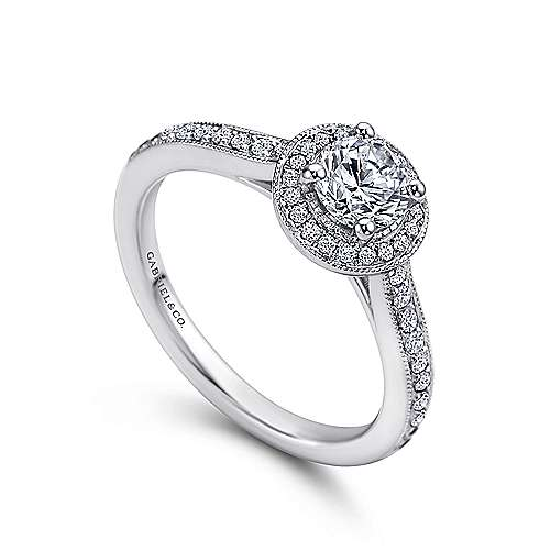 Winnie 14k White Gold Round Halo Engagement Ring angle 3