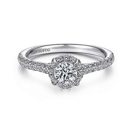 Gabriel - Wish 14k White Gold Round Halo Engagement Ring