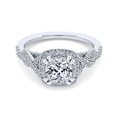Gabriel - Wisteria 14k White Gold Cushion Cut Halo Engagement Ring
