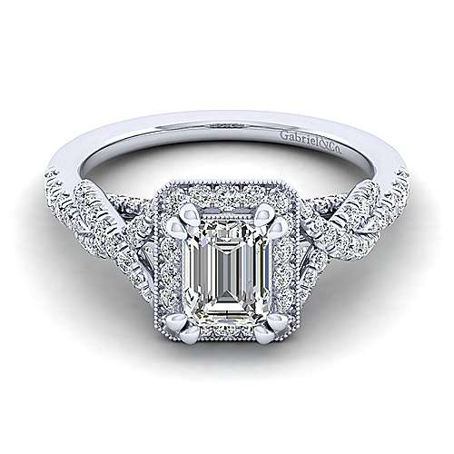 Gabriel - Wisteria 14k White Gold Emerald Cut Halo Engagement Ring