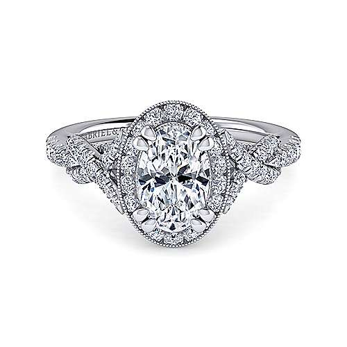 Gabriel - Wisteria 14k White Gold Oval Halo Engagement Ring