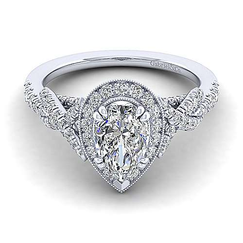 Gabriel - Wisteria 14k White Gold Pear Shape Halo Engagement Ring