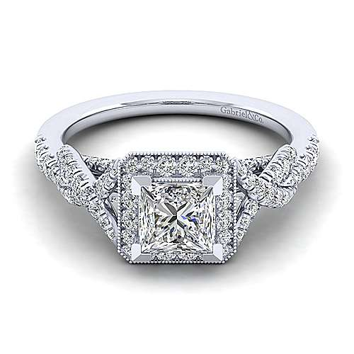Gabriel - Wisteria 14k White Gold Princess Cut Halo Engagement Ring