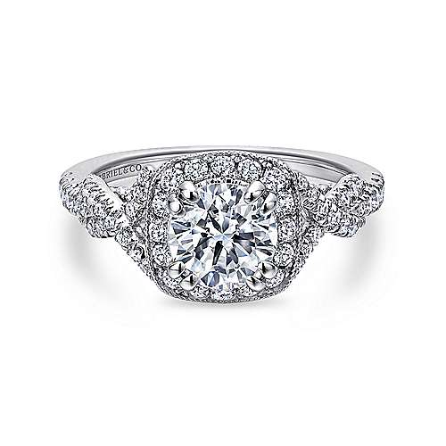Gabriel - Wisteria 14k White Gold Round Halo Engagement Ring