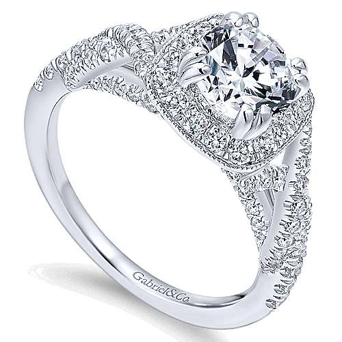 Wisteria 14k White Gold Round Halo Engagement Ring angle 3