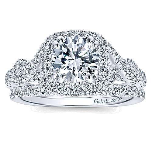 Wisteria 14k White Gold Round Halo Engagement Ring angle 4