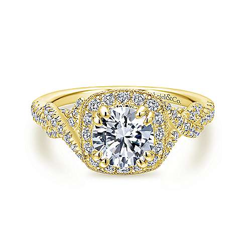 Gabriel - Wisteria 14k Yellow Gold Round Halo Engagement Ring