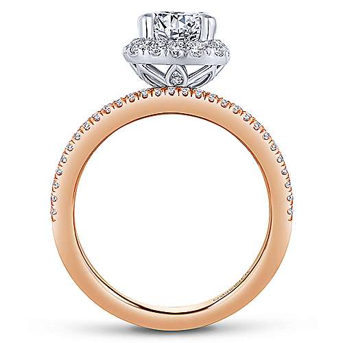 Wonder 18k White And Rose Gold Round Halo Engagement Ring angle 2