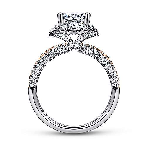 Wren 18k White And Rose Gold Round Halo Engagement Ring angle 2