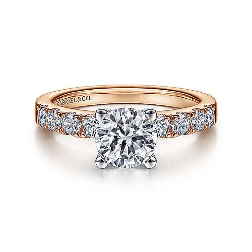 Gabriel - Wyatt 14k White And Rose Gold Round Straight Engagement Ring