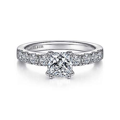 Gabriel - Wyatt 14k White Gold Cushion Cut Straight Engagement Ring