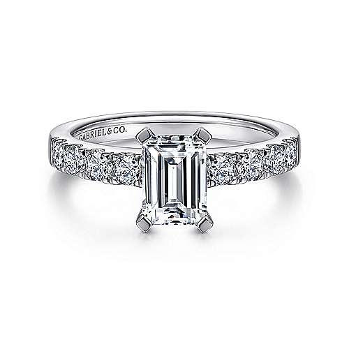Gabriel - Wyatt 14k White Gold Emerald Cut Straight Engagement Ring