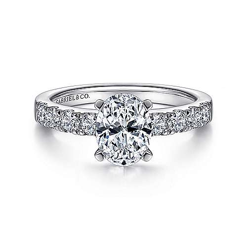 Gabriel - Wyatt 14k White Gold Oval Straight Engagement Ring