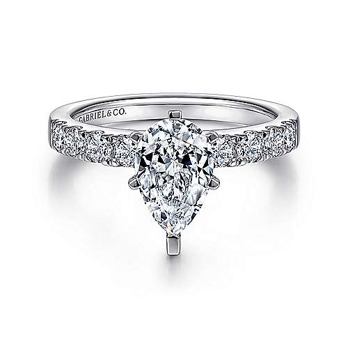 Gabriel - Wyatt 14k White Gold Pear Shape Straight Engagement Ring