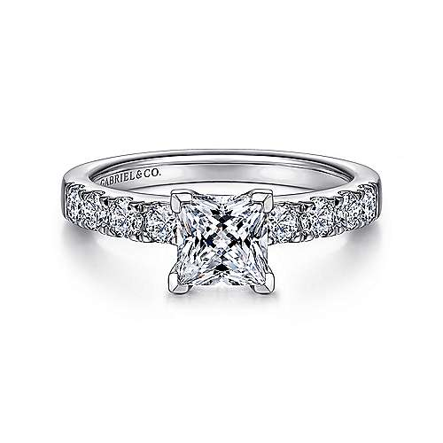Gabriel - Wyatt 14k White Gold Princess Cut Straight Engagement Ring