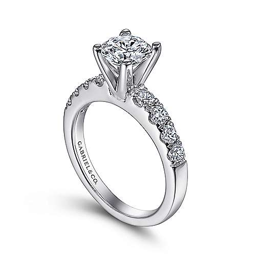 Wyatt 14k White Gold Round Straight Engagement Ring