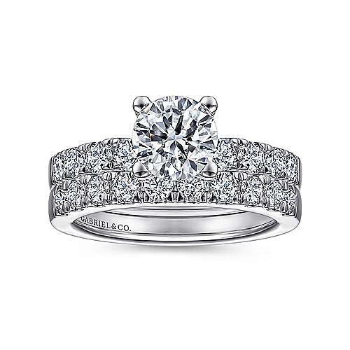Wyatt 14k White Gold Round Straight Engagement Ring angle 4