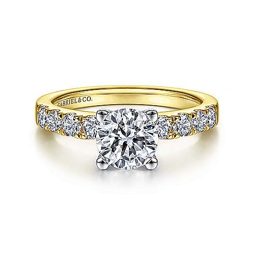 Gabriel - Wyatt 14k Yellow And White Gold Round Straight Engagement Ring