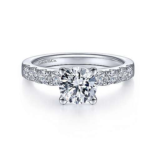 Gabriel - Wyatt 18k White Gold Round Straight Engagement Ring