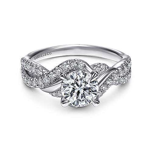 Gabriel - Xiomara 14k White Gold Round Twisted Engagement Ring
