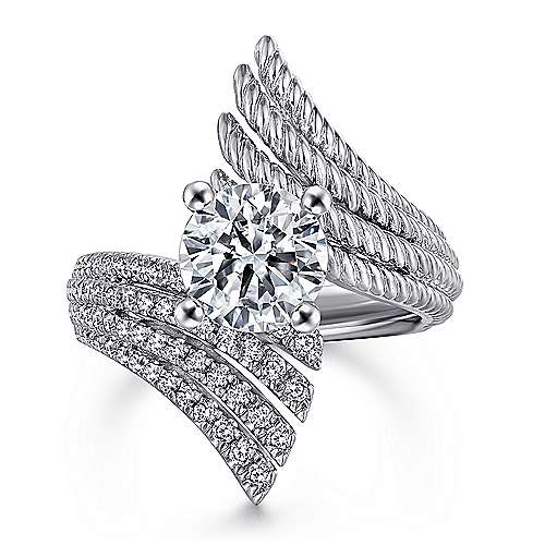 Yara 14k White Gold Round Bypass Engagement Ring angle 1
