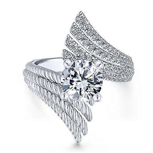 Yara 14k White Gold Round Split Shank Engagement Ring angle 5