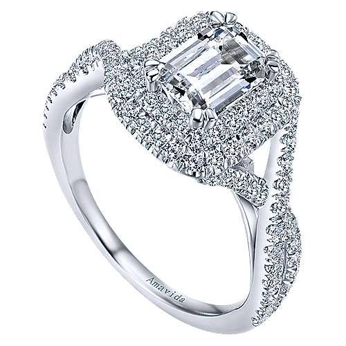 Yazmin 18k White Gold Emerald Cut Double Halo Engagement Ring angle 3