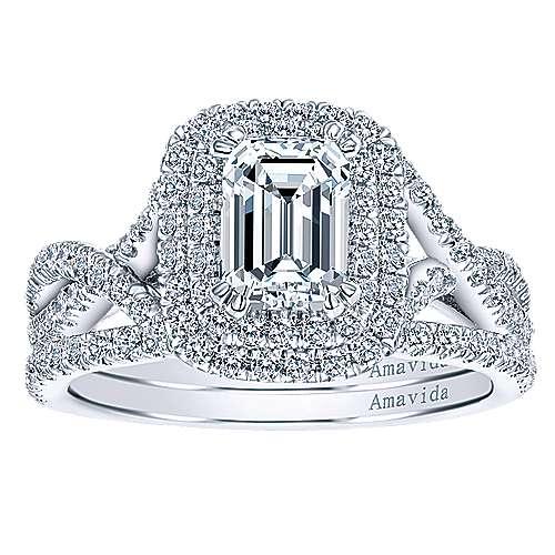 Yazmin 18k White Gold Emerald Cut Double Halo Engagement Ring angle 4