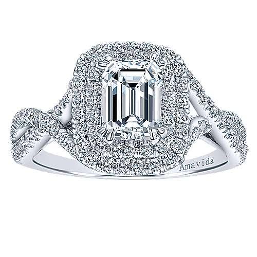 Yazmin 18k White Gold Emerald Cut Double Halo Engagement Ring angle 5