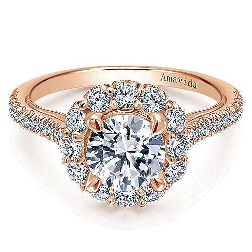 Yesenia 18k Rose Gold Round Halo Engagement Ring angle 1