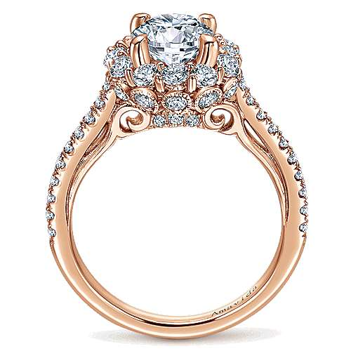 Yesenia 18k Rose Gold Round Halo Engagement Ring angle 2