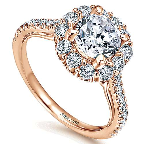 Yesenia 18k Rose Gold Round Halo Engagement Ring angle 3