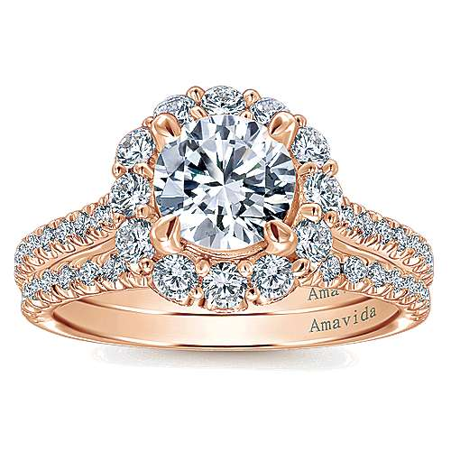 Yesenia 18k Rose Gold Round Halo Engagement Ring angle 4