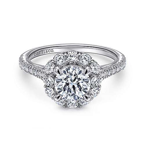 Gabriel - Yesenia 18k White Gold Round Halo Engagement Ring