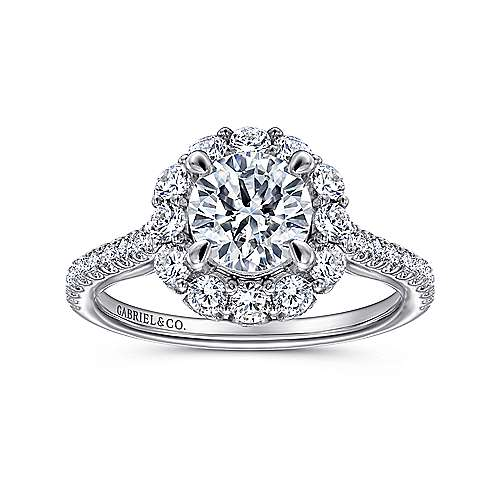 Yesenia 18k White Gold Round Halo Engagement Ring