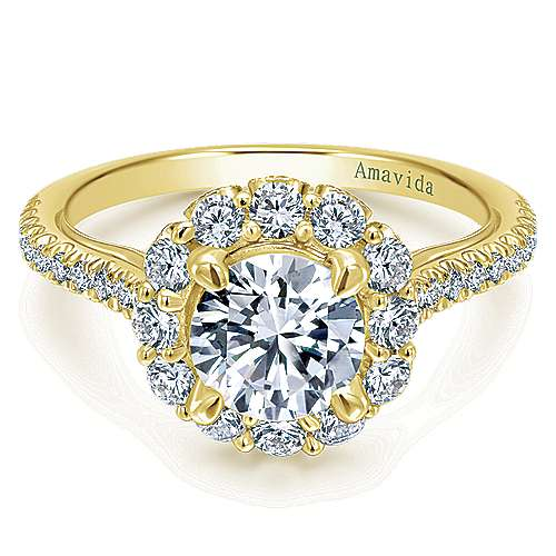 Gabriel - Yesenia 18k Yellow Gold Round Halo Engagement Ring