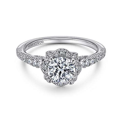 Yolanda 18k White Gold Round Halo Engagement Ring angle 1