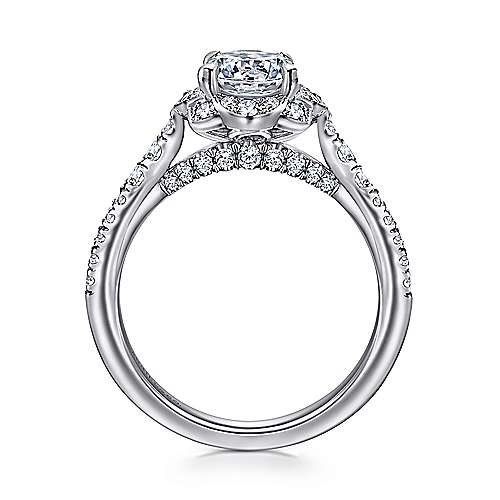 Yolanda 18k White Gold Round Halo Engagement Ring angle 2