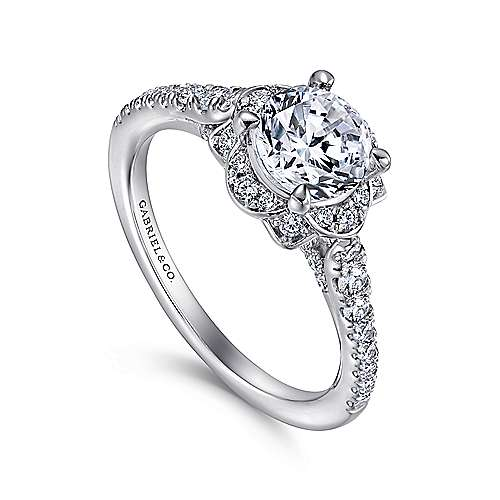 Yolanda 18k White Gold Round Halo Engagement Ring angle 3