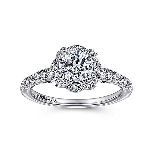 Yolanda 18k White Gold Round Halo Engagement Ring angle 5