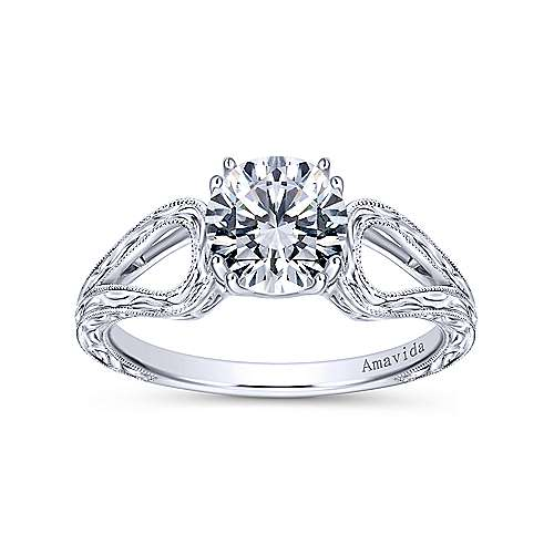 York 18k White Gold Round Split Shank Engagement Ring