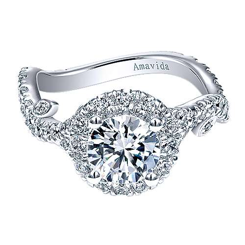 Yvonne 18k White Gold Round Halo Engagement Ring angle 1