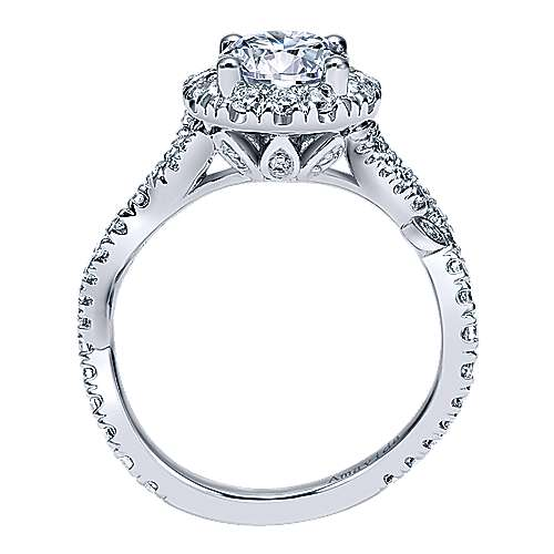 Yvonne 18k White Gold Round Halo Engagement Ring angle 2