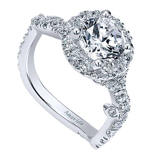 Yvonne 18k White Gold Round Halo Engagement Ring angle 3