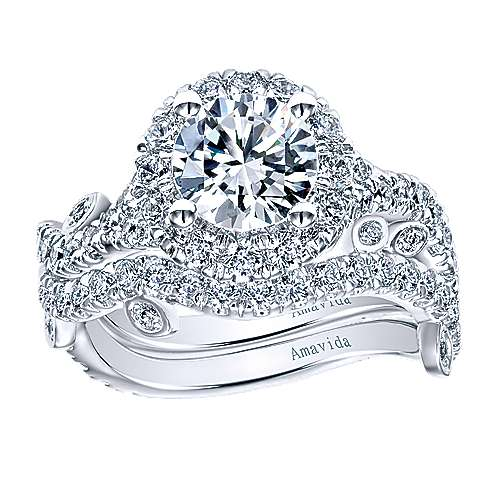 Yvonne 18k White Gold Round Halo Engagement Ring angle 4