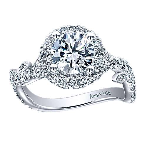 Yvonne 18k White Gold Round Halo Engagement Ring angle 5