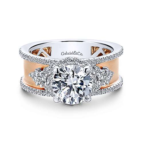 Gabriel - Zabila 18k White And Rose Gold Round Halo Engagement Ring
