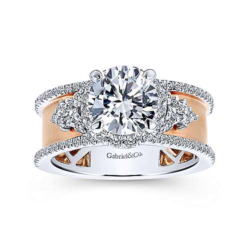 Zabila 18k White And Rose Gold Round Halo Engagement Ring angle 5
